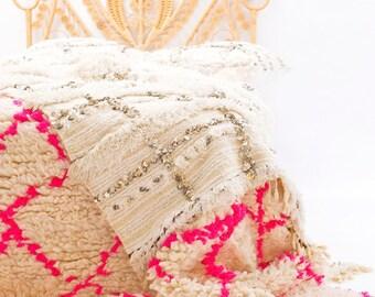 THE ROOMERY Moroccan Wedding Blanket, Handira Blanket, Wool Blanket With Sequins