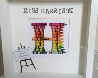 Framed Crayon Art Initial - Thank You Teacher Gift