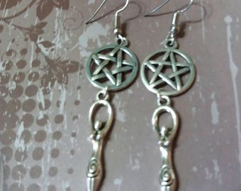 Wicca, wiccan pentacle goddess earrings, jewelry, Pagan, wiccan