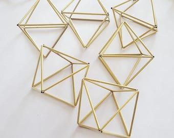 Geometric Brass Air Plant Holder, Brass Himmeli, Geometric Ornament, Geometric Planter, Christmas Gift, Baby Mobile, Scandinavian