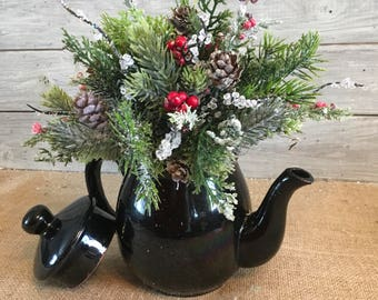 Vintage Tea Pot Winter Arrangement, Winter Centerpiece, Vintage Christmas Tea Pot Arrangement, Holiday Decor