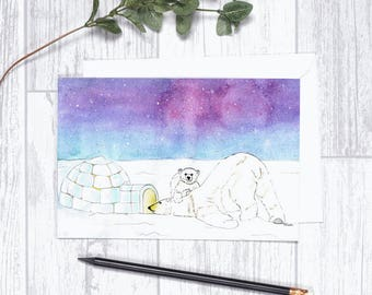 "Polar Bears - Note Cards - 4""x6"" - Individual - Greeting Card - Gifts -Nature Art -Aurora Borealis - Starry Sky - Winter - Igloo"