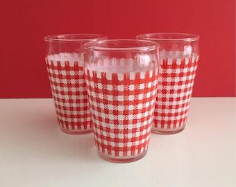 Vintage Gingham Patterned Juice Glasses