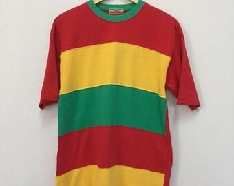 SALE 25% Vintage 90s G-lassroad Tshirt Stripes Hip Hop Swag