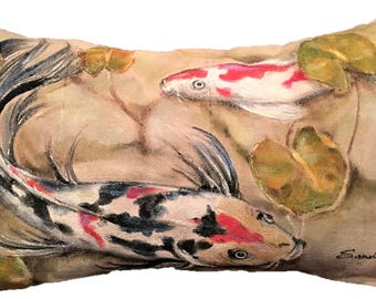 "KOI FISH PILLOW,  Hand Painted Lumbar Throw Pillow, Cover 12"" x 20"""