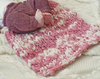 Baby blanket wool Pink Plaid newborn photo prop grey pink