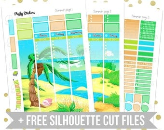 Summer Weekly Picture Kit for Erin Condren   Printable   Includes Blackout Files for Easy Cutlines