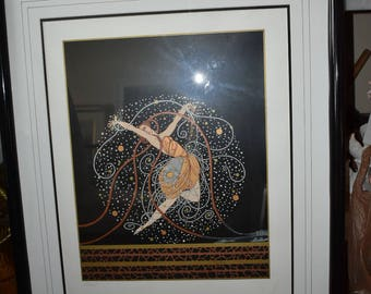 "Erte Limited Edition Framed Signed and Numbered Serigraph, ""Ondee"""