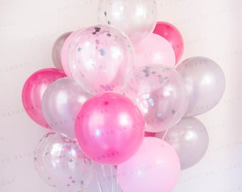 Pink & Silver Confetti Balloon Bouquet - Wedding, Birthday, Party, 21st, 30th - AU Free Shipping