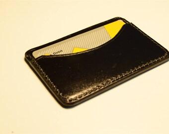 Black Kangaroo Leather Card Wallet, Slim Card Wallet, Leather Card Wallet, Personalised