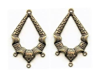 Ornates pendants Hoop Oxidized Brass, 33x20 mm