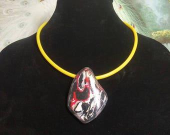 Red Fire Mokume Pendant on Yellow Cord #880; Waterproof Pendant & Cord Choker; Yellow coordinate necklace, OOAK