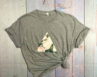 Peony Tee/Peony T-shirt/Grey Shirt/Gray Shirt/Peonies/Floral Tee/Floral Top/Indie/Boho/Tribal/Triangle Tee/Triangle T-shirt/skater tee