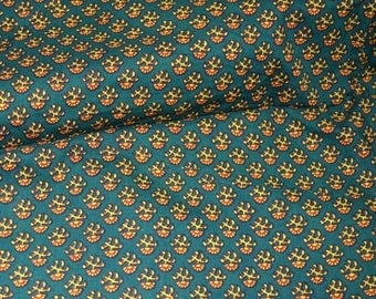 10% Off On Green, Yellow and Red Hand Print Cotton Ajrakh Fabric