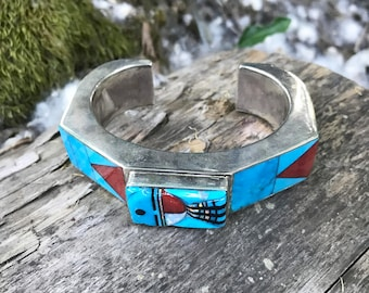 Heavy Turquoise Sun Face Inlay Cuff Bracelet