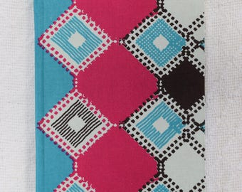 Pink and Blue Square African Wax Print Fabric Notebooks