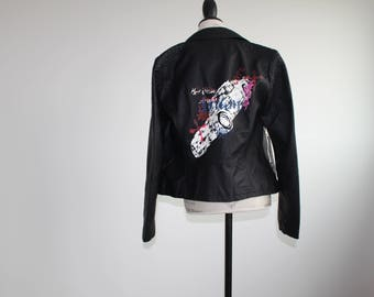 Upcycled Black Leather Jacket With Stenciling