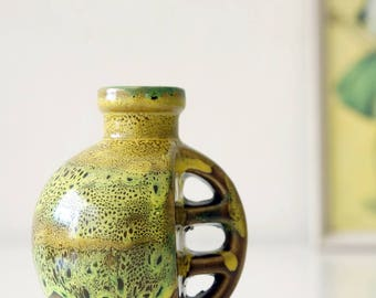 Special Mid Century vase, yellow, brown, green