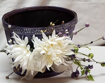 "Small Wooden Fall Planter ""PURPLE CHRYSANTHEMUM"""