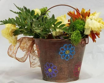 Small Embossed & Pierced Metal Cachepots Early Spring 2018