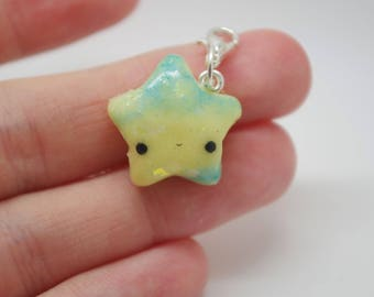 Polymer clay, yellow and blue, glittery, star charm, fashion accessory