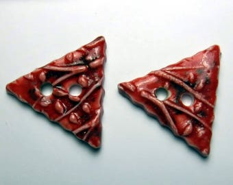 2 Red Triangle Buttons - Porcelain Ceramic  Buttons / set #807