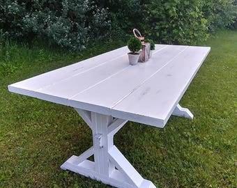 White Distressed Farm House Table, Trestle Table, Distressed Table,  Distressed, Whitewash,