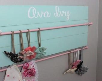 Baby Bow Holder Headband Holder Headband Organizer Girls Nursery Organizer Girls Baby shower gift farmhouse nursery decor mint nursery decor