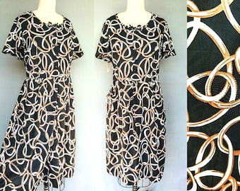 linking up / 1960s nylon print day dress deadstock with tags / 18 20 1x 2x