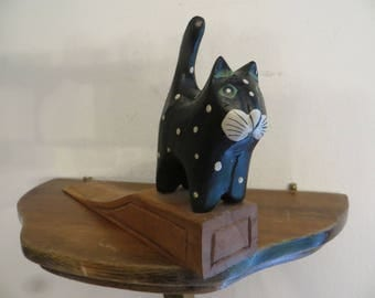 "Wooden cat door stop 7"" long carved hand painted. w free ship"