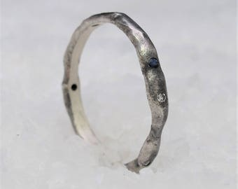 Silver ring with sapphires and diamonds, minimal oxidized silver
