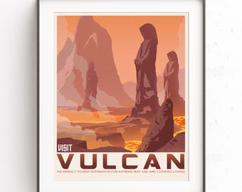 Vulcan Planet. Star Trek art. Retro travel poster. Spock illustration. Kirk Starfleet. Enterprise minimalist. Leonard Nimoy. Gift for geeks