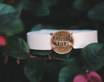 Choose Joy Leather Cuff, Inspirational Jewelry, Bridesmaid Gift, Mantra Bracelet, Stamped Bracelet, Personalized Cuff, Gift for Her,