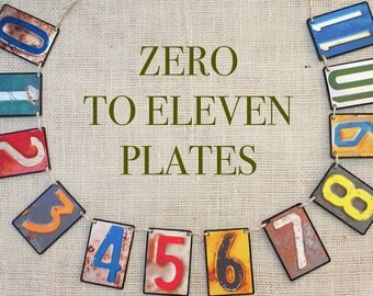 Zero to Eleven Plates Garland--Baby shower, nursery decoration, kids room, garlands,  banners, bunting, wall decor,  mantel decor,  gifts
