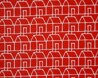 vintage 1960s Habitat Casa red houses print cotton fabric