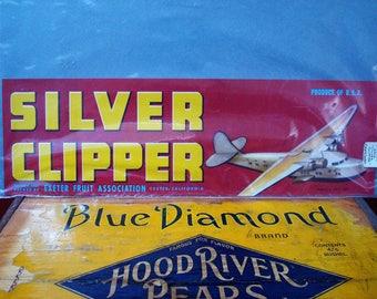 "Vintage Original Unused Fruit Crate Label ""Silver Clipper"", ca. 1940's"