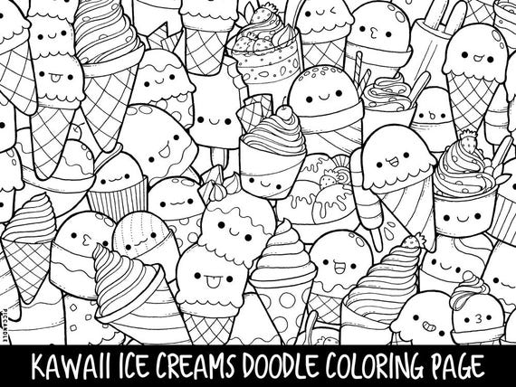 doodle coloring pages printable - ice creams doodle coloring page printable cute kawaii