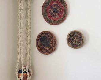 Vintage wall basket set / rope coiled badket set of 3