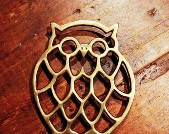 ON SALE Vintage Brass Owl Trivet