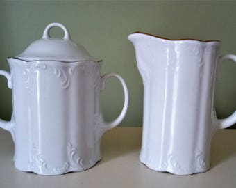 Vintage Arpo Porcelain Creamer And Sugar Bowl Made In Romania White Gold Porcelain