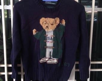 Vintage Kid's Ralph Lauren Polo Bear USA RL'67 Navy Blue Cotton Sweatshirt Pullover Jumper Pwing Stadium