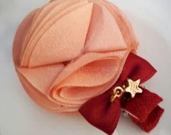 1pc peach flower cosage hair clips - hair accessories - baby hair clips - girls hair clips - handmade by sugrblossom