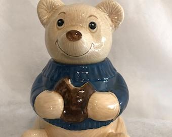 Met lox Teddy Bear with Blue Sweater Cookie Jar