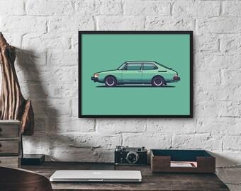 Saab 900 Car Poster Art Print (Side)