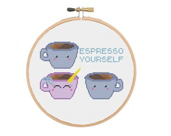 Espresso Yourself Coffee Pun PDF Cross Stitch PATTERN