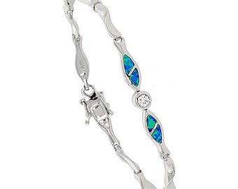 Sterling Silver Blue Opal Fish Charm Bracelet CZ Accent