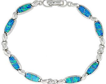 Blue Opal CZ Stones Sterling Silver Oval Links Bracelet, 7 1/4 inch long