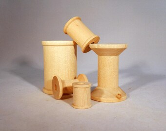 Unfinished Natural Wooden Spools