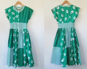 80s Cotton Patchwork Print Dress / Emerald Green Stripe Sundress / Button Up A Line Fifties 50s Style / Anne Stooke Australian Vintage