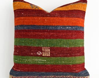 SALE! Red Green striped wool needlepoint, vintage pillow, vintage kilim, ethnic pillow, vintage home decor, embroidery pillow